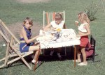 Tea party: Sharon and Heather with Judy Van Wart