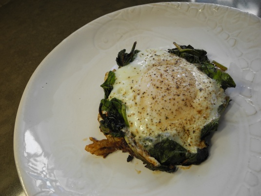 Egg poached on a bed of spinach