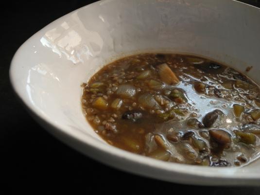Mushroom kasha soup