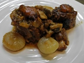 Slowly simmered oxtail stew, richly satisfies