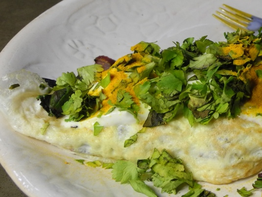 Omelet with tumeric, cilantro, and Greek yogurt