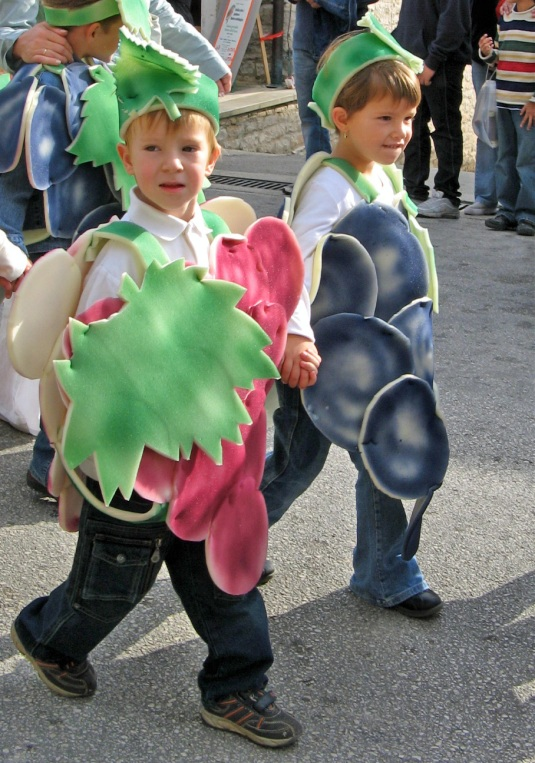 Buje's grape festival: Kidlets dressed as grapes