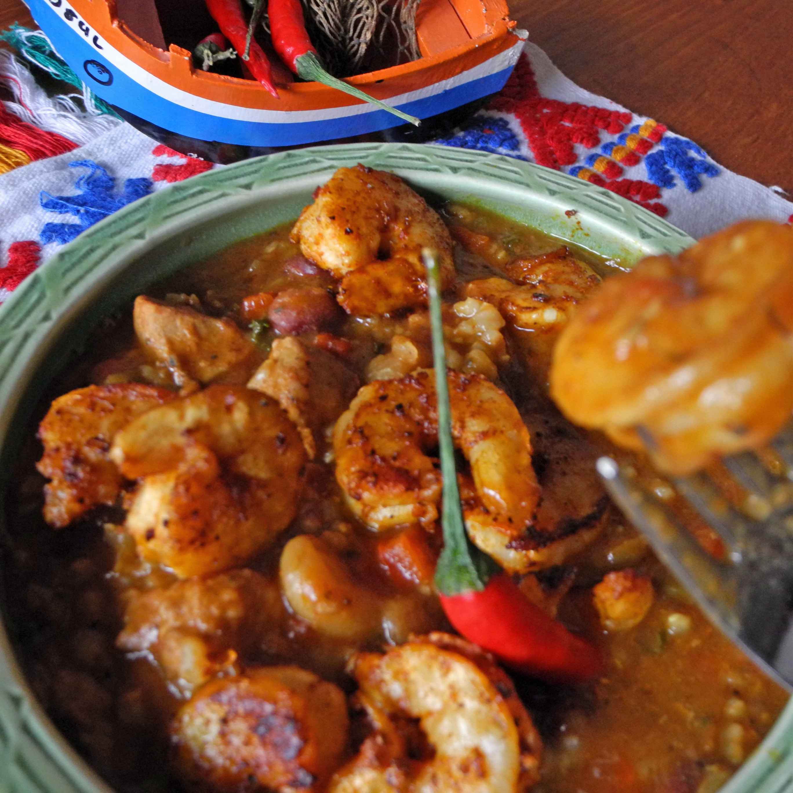 Shrimp gumbo with ancho chile spice rub